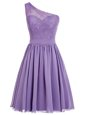Deluxe Lavender A-line One Shoulder Sleeveless Chiffon Ankle Length Side Zipper Appliques Prom Dresses