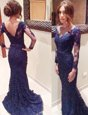 Captivating Navy Blue Mermaid V-neck Long Sleeves Lace Court Train Backless Lace Prom Dresses