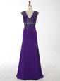 Mermaid Chiffon V-neck Sleeveless Brush Train Zipper Beading Dress for Prom in Purple