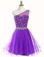 Fine One Shoulder Beading Purple Zipper Sleeveless Mini Length
