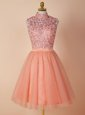 Peach Backless Prom Dress Appliques Sleeveless Knee Length