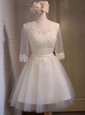 Organza Scoop Half Sleeves Lace Up Appliques Prom Gown in White
