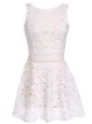 Scoop White Sleeveless Lace Zipper Prom Dress for Party