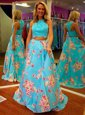 Cheap Halter Top Floor Length Zipper Prom Gown Blue and In for Prom with Beading and Appliques and Pattern