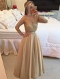 Beautiful Long Sleeves Chiffon Floor Length Zipper Evening Dress in Champagne for with Beading and Lace