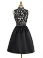 Satin High-neck Sleeveless Zipper Beading and Appliques Mother Of The Bride Dress in Black