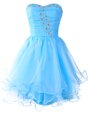 Nice Baby Blue A-line Beading Dress for Prom Lace Up Organza Sleeveless Mini Length