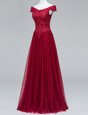 Trendy Wine Red Zipper V-neck Lace Prom Dress Tulle Short Sleeves