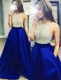 Best Halter Top Royal Blue Sleeveless Floor Length Beading Backless Prom Dress
