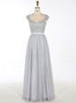 Spectacular Grey A-line V-neck Sleeveless Chiffon Floor Length Zipper Beading and Appliques Mother Of The Bride Dress