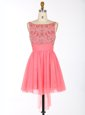 Peach Evening Dress Prom and Party and For with Appliques Scalloped Cap Sleeves Zipper