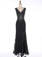 Fashionable Mermaid Sleeveless Zipper Floor Length Sequins Prom Evening Gown