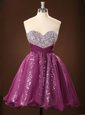 Sleeveless Mini Length Sequins Zipper Prom Dress with Purple