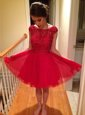 Sexy Red Cap Sleeves Tulle Zipper Cocktail Dresses for Prom