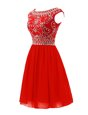 Scoop Mini Length A-line Sleeveless Red Prom Party Dress Zipper