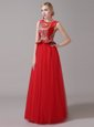 Tulle Scoop Sleeveless Zipper Appliques Mother Of The Bride Dress in Red