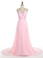 Pink Mermaid Spaghetti Straps Sleeveless Chiffon With Train Sweep Train Zipper Ruffles Prom Evening Gown
