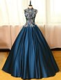 Shining Navy Blue Sleeveless Floor Length Appliques Backless Mother Of The Bride Dress