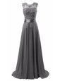 Scoop Grey Chiffon Lace Up Homecoming Dress Sleeveless Brush Train Beading and Appliques