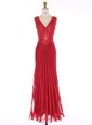 Fine Mermaid Sequins Prom Evening Gown Red Zipper Sleeveless Floor Length