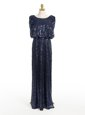 Adorable Navy Blue Mother Of The Bride Dress Prom and Wedding Party and For with Sequins Scoop Sleeveless Zipper