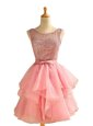 Unique A-line Prom Evening Gown Pink Scoop Chiffon Sleeveless Knee Length Lace Up