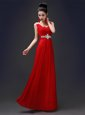 Spectacular Red A-line Chiffon Square Sleeveless Beading Floor Length Zipper Homecoming Dress