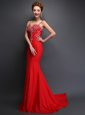 Best Mermaid Red Satin Zipper Prom Evening Gown Sleeveless With Brush Train Beading