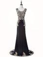 Dramatic Mermaid Black Prom and Party and For with Beading and Appliques Scoop Sleeveless Brush Train Zipper