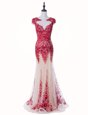 Delicate Mermaid Scoop Backless Red Mother Of The Bride Dress Tulle Brush Train Cap Sleeves Appliques