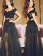 Black A-line Lace Off The Shoulder Sleeveless Lace Floor Length Zipper Dress for Prom