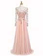 Peach Backless Scoop Beading Prom Dresses Chiffon Long Sleeves Sweep Train