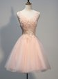 Wonderful Peach Sleeveless Beading and Appliques Knee Length Dress for Prom
