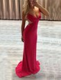Hot Pink Formal Evening Gowns V-neck Sleeveless Brush Train Zipper