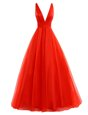 Customized V-neck Sleeveless Prom Evening Gown Brush Train Pleated Coral Red Organza