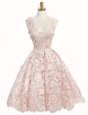 Artistic Baby Pink A-line Lace V-neck Sleeveless Lace Knee Length Zipper Prom Party Dress