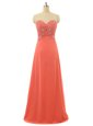 Free and Easy Watermelon Red Sweetheart Neckline Beading Prom Dress Sleeveless Lace Up