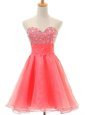New Style A-line Prom Dress Watermelon Red Sweetheart Organza Sleeveless Zipper