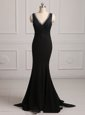 Mermaid Black Prom Evening Gown Prom and For with Lace Sweetheart Sleeveless Brush Train Zipper