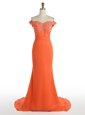 Mermaid Off the Shoulder Orange Sleeveless With Train Lace Zipper Prom Evening Gown