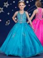 Luxury Blue Organza Zipper Scoop Sleeveless Floor Length Flower Girl Dresses Beading