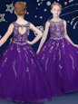 Purple Asymmetric Neckline Beading and Ruffled Layers Little Girl Pageant Gowns Sleeveless Lace Up
