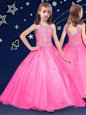 Stunning Halter Top Beading Flower Girl Dresses Hot Pink Zipper Sleeveless Floor Length