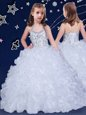 Fashion Halter Top White Ball Gowns Beading and Ruffles Little Girls Pageant Gowns Lace Up Organza Sleeveless Floor Length