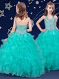Top Selling Halter Top Floor Length Zipper Little Girls Pageant Dress Wholesale Turquoise and In for Quinceanera and Wedding Party with Beading and Ruffles