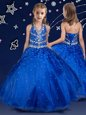 Halter Top Sleeveless Little Girls Pageant Dress Wholesale Floor Length Beading Royal Blue Organza