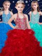 Fantastic Halter Top Sleeveless Zipper Kids Formal Wear Wine Red and Baby Blue and Turquoise Organza