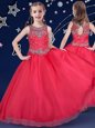Spectacular Scoop Red Sleeveless Beading Floor Length Little Girls Pageant Gowns