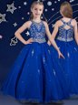 Scoop Royal Blue Ball Gowns Beading Flower Girl Dresses Zipper Organza Sleeveless Floor Length
