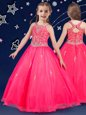 Scoop Beading Flower Girl Dresses Hot Pink Zipper Sleeveless Floor Length